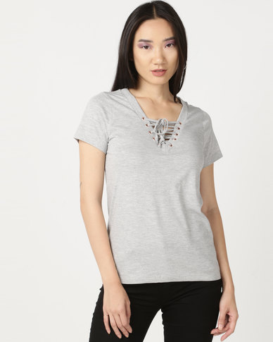 Soviet Lace Up Detail T-Shirt Grey