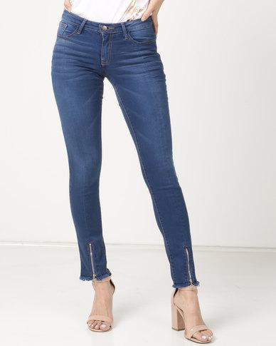 Soviet Zip Detail Skinny Jeans Dark Indigo