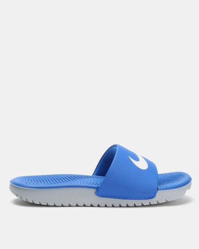 competitive price d6fb1 870cd Nike Kids Kawa Slides Blue  Zando