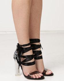 Dolce Vita Paris Clear Heels Ankle Strap Black