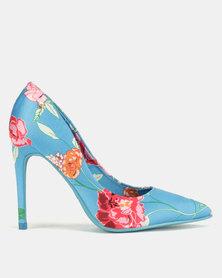 Dolce Vita Tenerife Floral Print Heels Blue
