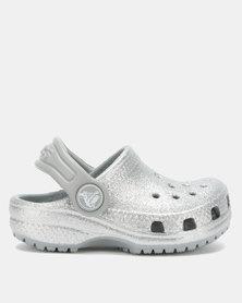 Crocs Classic Glitter Clog Kids Silver