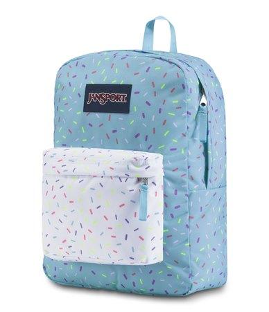 JanSport Superbreak Backpack Blue Topaz Sprinkle Me
