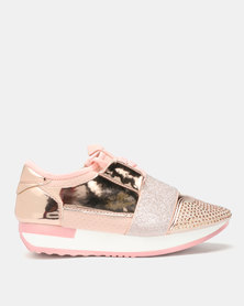 London Hub Fashion Futuristic Sneakers Rose Gold