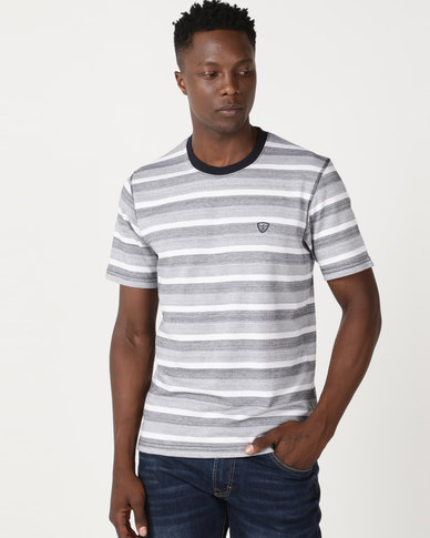 JCrew Fancy Stripe Crew Neck Tee Navy