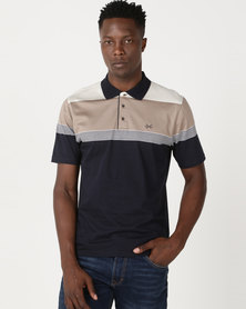 JCrew Mercerised Cotton Golfer Taupe Stripe