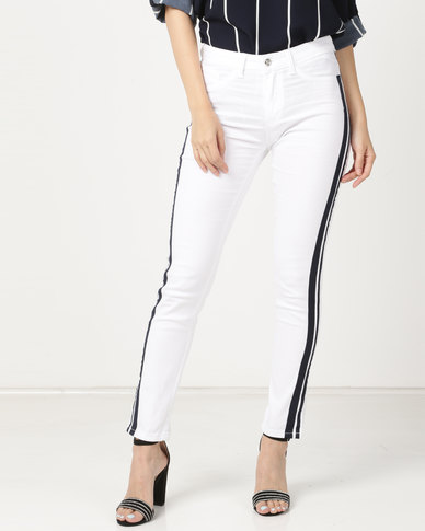 cath.nic By Queenspark Side Stripe Woven Denim White