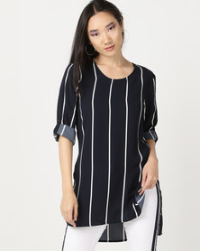cath.nic By Queenspark Stripe High Low Woven Top Navy
