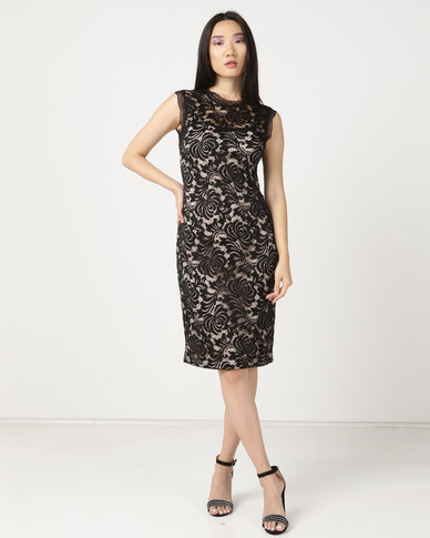 cath.nic By Queenspark Dare To Be Bare Lace Knit Dress Black