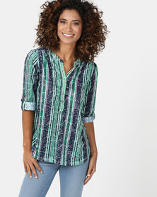 Queenspark Green Multi Stripe Burnout Knit Top Green