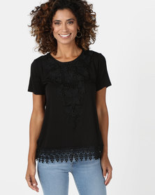 Queenspark Lace Trim Core Knit Top Black