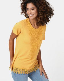 Queenspark Lace Trim Core Knit Top Mustard