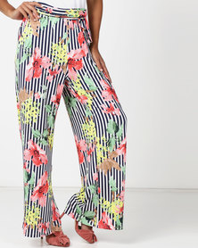 Queenspark Palazo Printed Floral Trousers Navy