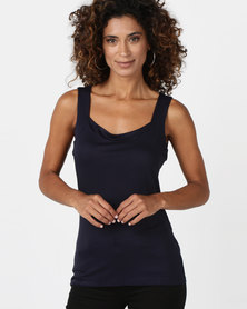 Queenspark Casual Sleeveless Core Cami Navy