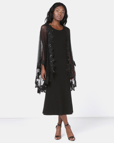 Queenspark Gala Evening Shawl Knit Dress Black