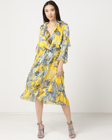 Miss Cassidy By Queenspark Printed Frill Detail Woven Dress Yellow