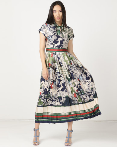 Miss Cassidy By Queenspark Pleated Fashion Woven Dress Multi