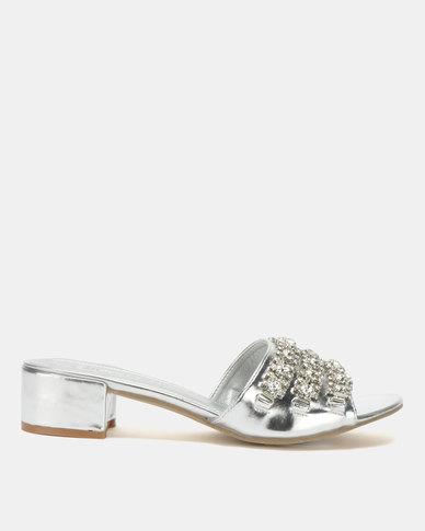 Queenspark Low Mules with Triple Diamante Trim Silver