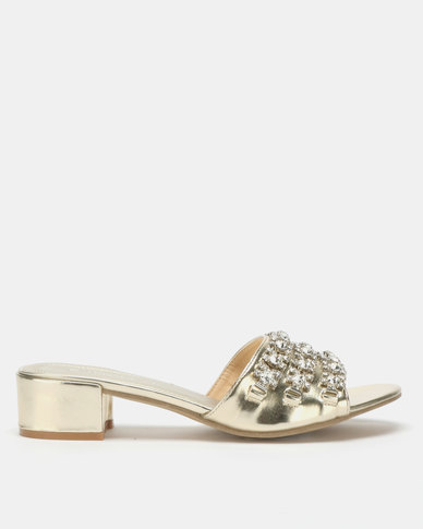 Queenspark Low Mules With Triple Diamante Trim Silver