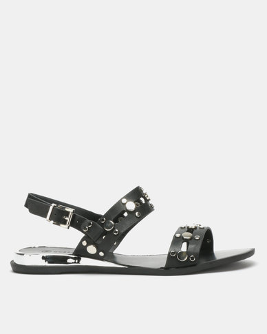 Queenspark Biker Stud Casual Sandals Black