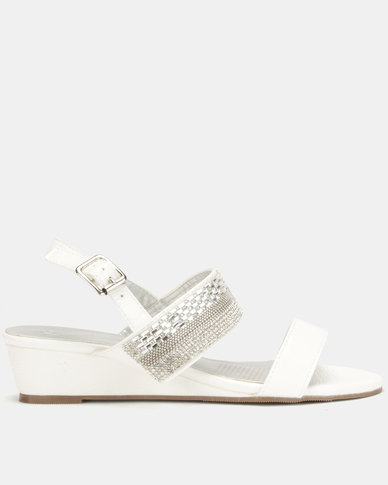 Queenspark Double Strap Wedge With Baguettes Crystal Centre White