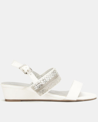 39ab80015bf Queenspark Double Strap Wedge With Baguettes Crystal Centre White