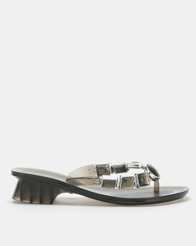 Queenspark Heeled Jelly Sandals With Square & Circle Trims Charcoal