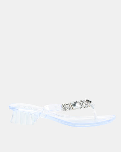 Queenspark Heeled Jelly Sandals With Clear Trims Clear