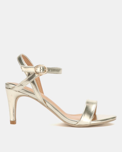 Jada Glam & Go by Jada Strappy Heels Light Gold