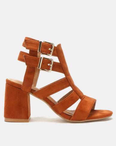4b54d9f7c432 Jada Double Buckle Block Heels Tan