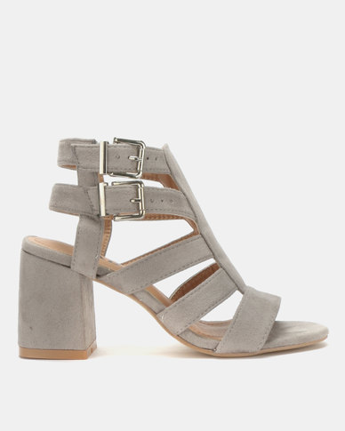 6ddb2ec8b331 Jada Double Buckle Block Heels Light Grey