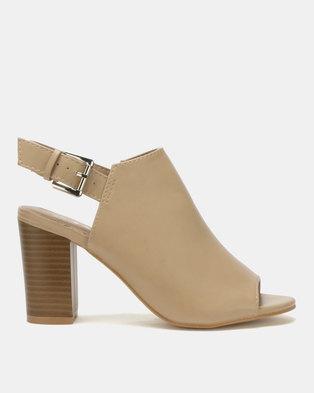 be7dc7962259 Jada Brush PU Ankle Strap Block Heels Sand