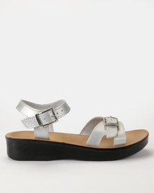 Angelsoft Nicole Leather Wedges Silver