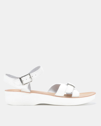 Angelsoft Nicole Leather Wedges White