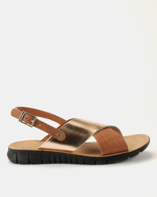 Angelsoft Chloe Leather Sandals Rose Gold & Tan