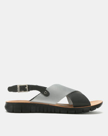 Angelsoft Chloe Leather Sandals Silver & Black