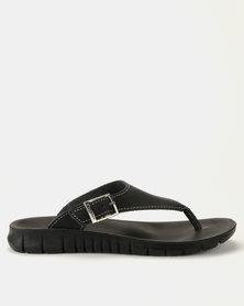 Angelsoft Kim Leather Sandals Black