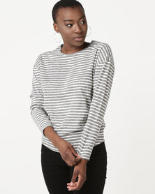 New Look Stripe Slouchy Long Sleeve Tee Grey