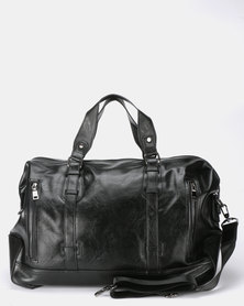 Blackchilli Faux Leather Weekender Duffle Bag Black