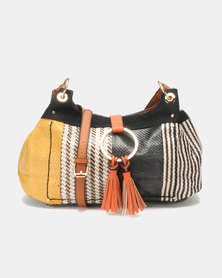 Queenspark Multi Textured Straw Bag With Big Ring Multi