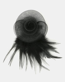 Queenspark Feather Trim Fascinator With Clip Black