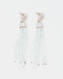 Queenspark Statement Seed Bead Tassel Earrings White