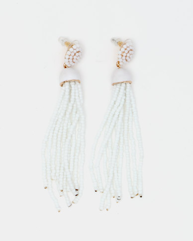 Queenspark Statement Seed Bead Tassel Earrings White