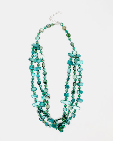 Queenspark Sea Bead Multi Row Necklace Blue