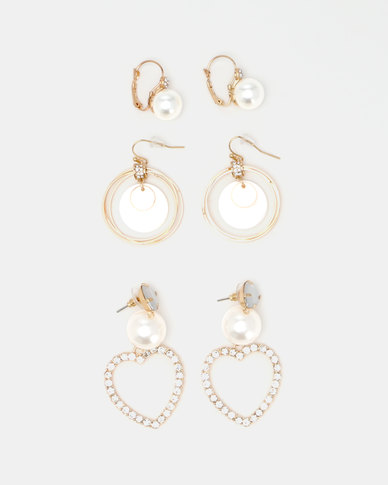 Queenspark 3PK Heart And Pearl Earrings Combo Gold-Toned