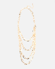 Queenspark 5 Row Chain Necklace Gold-Toned