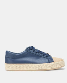 KG Ladies Rope Low Cut Lace Up Sneakers Navy
