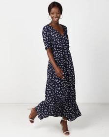 Wae West Wrap Floral Print  Maxi Dress Navy