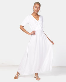 Wae West Wrap Print Maxi Dress White