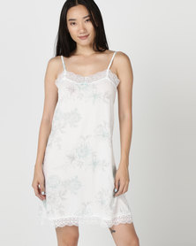 Poppy Divine Printed Chemise Print Duck Egg Blue/ Grey